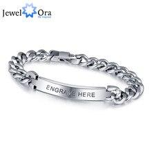 Personalizado gravar prata masculino pulseira moda titânio aço pulseiras & pulseiras para homem melhor presente para mem (jewelora ba101336)