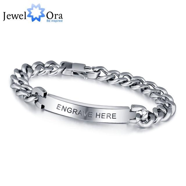 Personalized Engrave Silver Men Bracelet Fashion Titanium Steel Bracelets & Bangles For Men Best Gift For Mem(JewelOra BA101336)