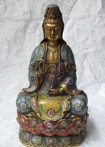 "bi001945 15""Tibet Bronze gild Cloisonne quan yin Avalokiteshvara Guan yin drip kwan yin|yin|   -"