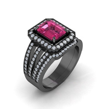 HUITAN Classic Cocktail Party Ring For Women Three Model Available With Square Crystal Stone Micro Paved Finger Wholesale