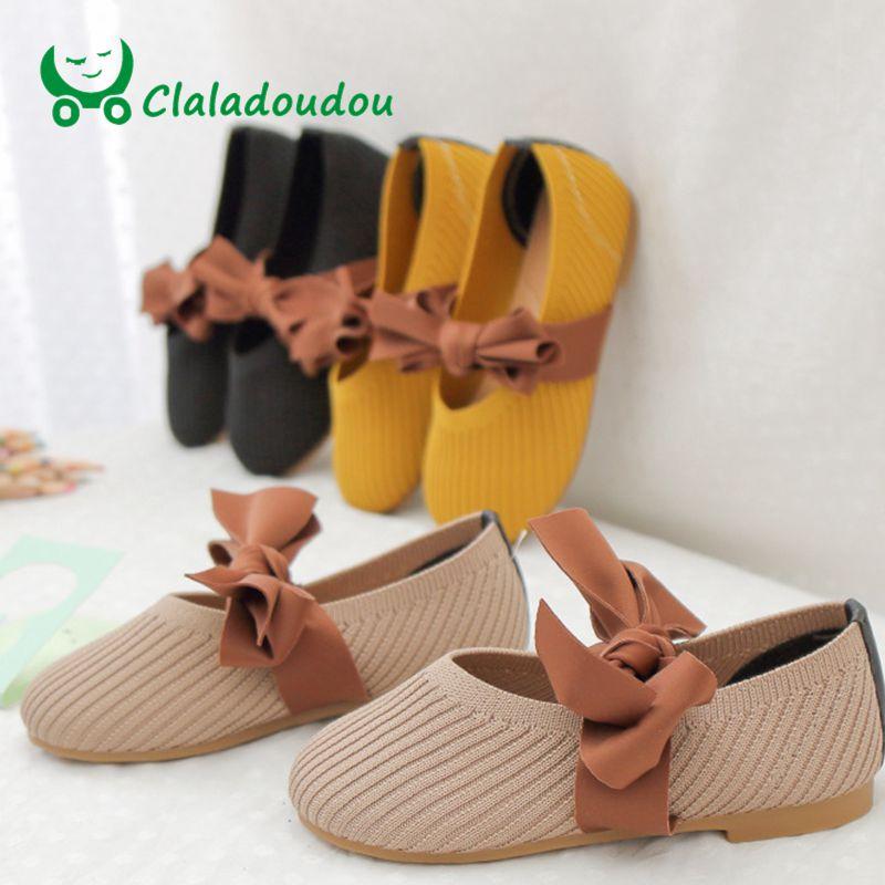 Claladoudou Knitting-Shoes School-Shoes Girls Yellow Black Butterfly Flat Brand Pu 3-9Y