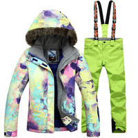 New GSOU SNOW Single Double Board Women's Ski Suit Hair Collar Thermal Waterproof Windproof Ski Jacket+Ski Pants Size XS L