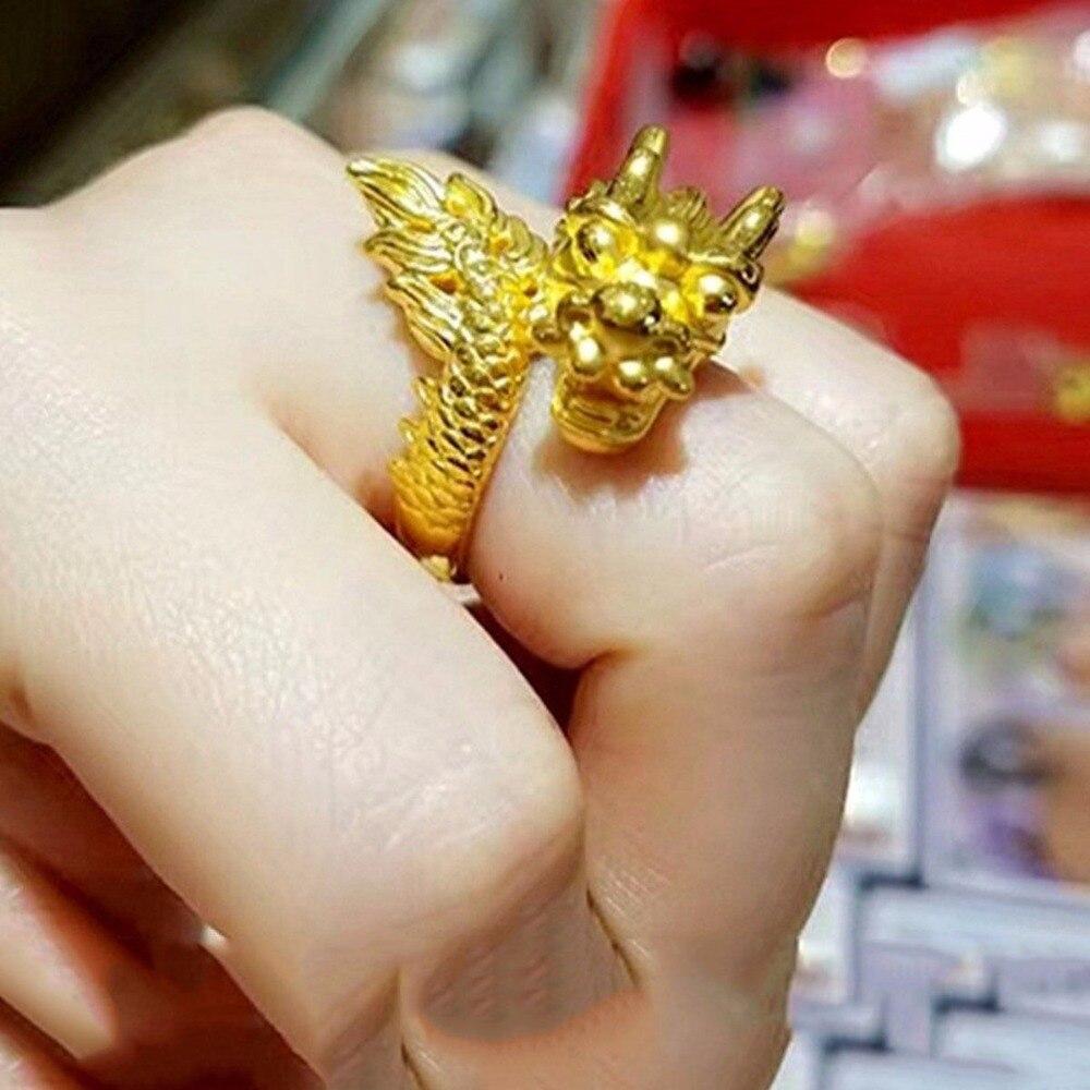 Véritable 24 k Or Jaune Bague De Mode Hommes Chanceux Noble Dragon Tête Anneau