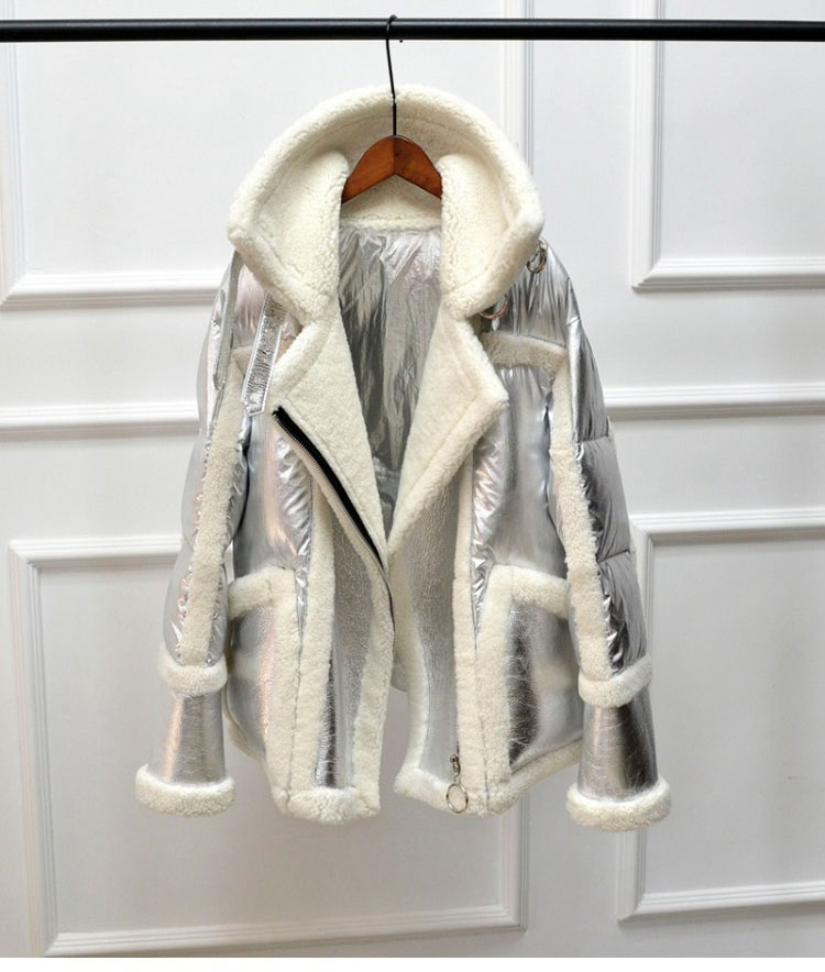 genuine leather and fur duck down coat silver (7)