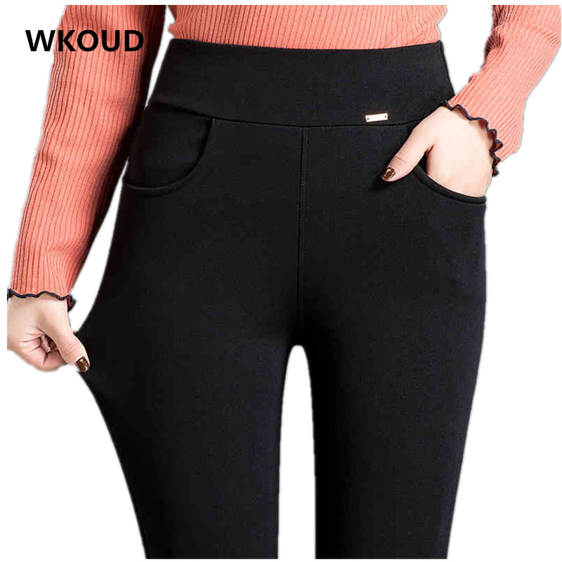 WKOUD 2019 New Pencil Pants For Women Black Solid Full Length Leggings High Waist Stretch Trousers Female Casual Wear P8435