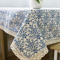 Ретро-синий и белой скатертью с кружевом хлопок печать китайский стиль прямоугольные столовой скатерти домашнего декора ZB-9