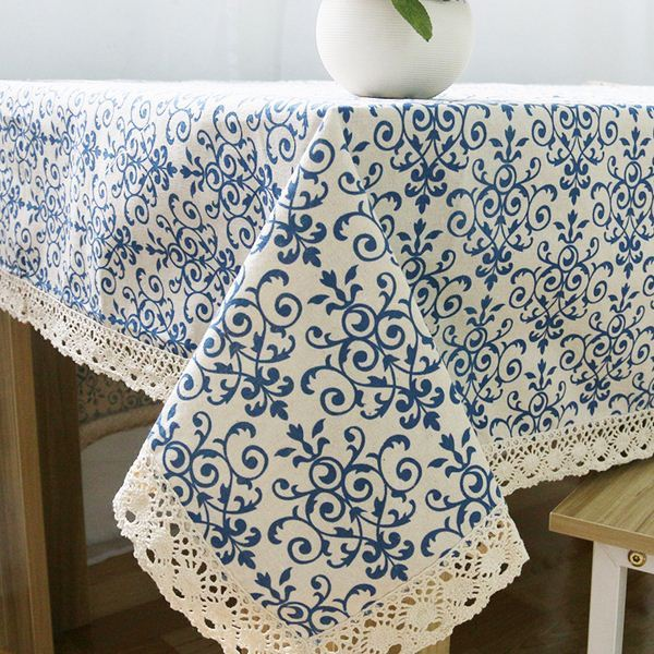 Retro Blue And White Table Cloth With Lace Cotton Print Chinese Style  Rectangular Dinning Tablecloths Cover