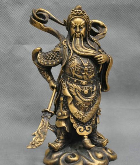 8'' China Dragon Sword Warrior Guan Gong Yu Bronze Statue R0712 Statues & Sculptures Home & Garden - title=