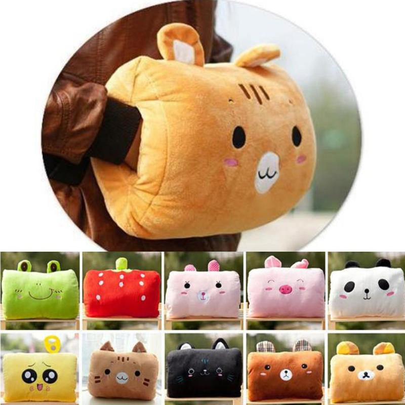 1pc kids cute gift Winter Cartoon Plush Toys Hand Warmer Cartoon Animals Soft pillow Hand Hold Warm Christmas Cushion Gift 45 hot sale cute dolls 60cm oblong animals pillow panda stuffed nanoparticle elephant plush toys rabbit cushion birthday gift