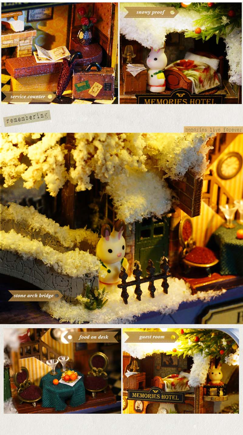 Roam Around in Winter 3D Wooden DIY Handmade Box Theatre Dollhouse Miniature Box Cute Mini Doll House Assemble Kits Gift Toys (5)