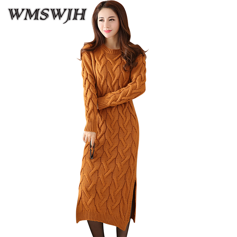 Fashion Winter Knitted Sweater Dress Women Clothes Loose Thicken Ladies Knitted O-neck Casual Dress Autumn Female Party Dresses