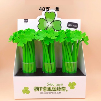48pcs/pack Cute Cartoon Lucky Grass Silicone Gel Pen Creative Office School Stationery