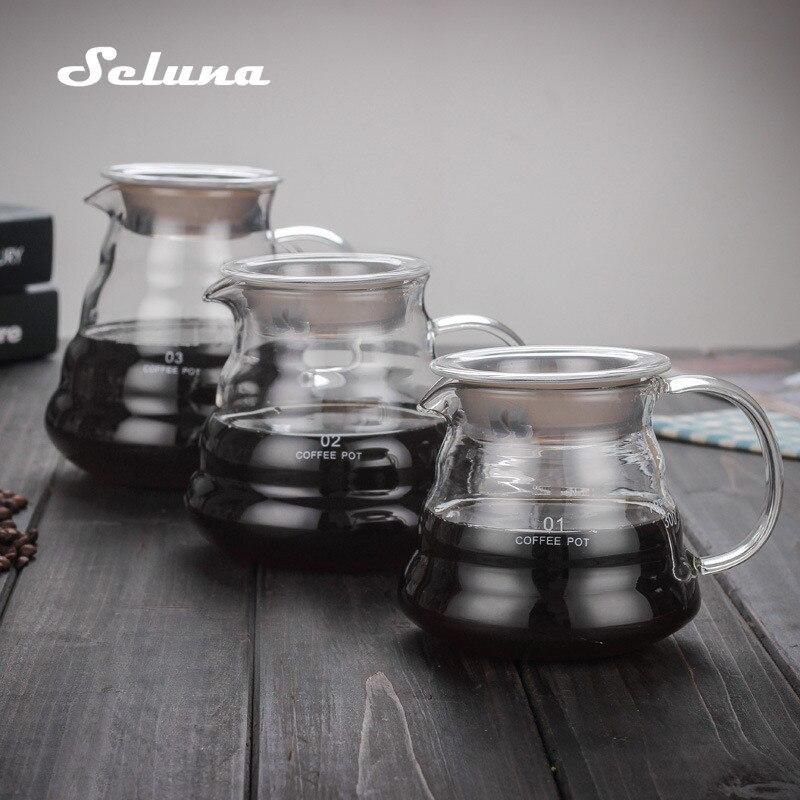 V60 صب أكثر من الزجاج المدى القهوة خادم 360 مللي 600 مللي 800 مللي Carafe بالتنقيط إبريق قهوة غلاية قهوة بريور باريستا Percolator واضح