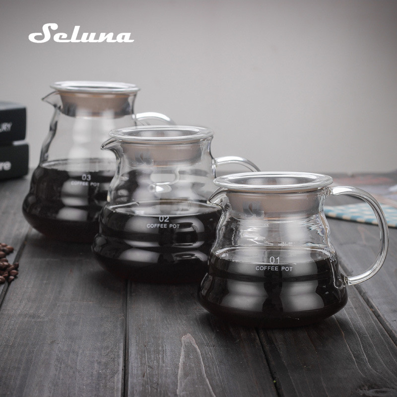 V60 Pour Over Glass Range Coffee Server 360ml 600ml 800ml Carafe Drip Coffee Pot Coffee Kettle Brewer Barista Percolator Clear