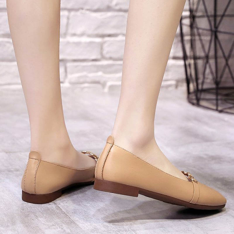 HEE GRAND 2019 New Spring Women Flats Solid Slip-On Causal Square Toe Shoes String Bead PU Leather Flats Size 35-40 XWD7578 3