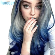 Girl Blue and Gray wig Long Curly Wavy Synthetic Full Hair Wig Cosplay party human hair extensions High temperature wire Dec10(China)