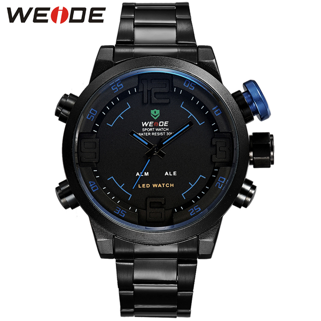 WEIDE New Brand Digital LED Watches Men Quartz Dual Movement Alarm Date Backlight Multi-Functional Stainless Steel Sport Watch