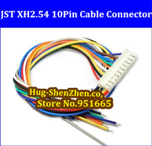 Free shipping  30pcs JST XH2.54 10pin 30cm electronic cable XH single-head wire single head with connector XH2.54-10pin
