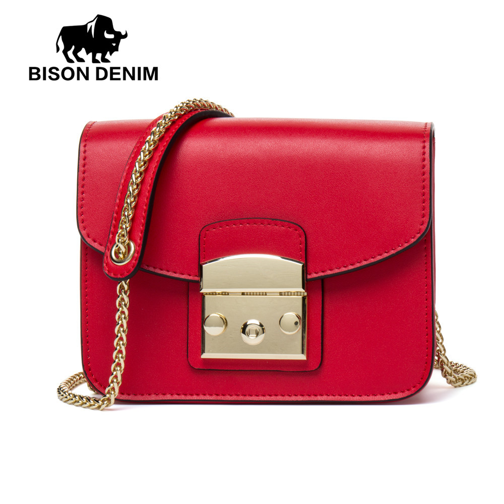 BISON DENIM Women Message Bags High Quality Cowhide Genuine Leather Crossbody Bags Women Flap Chains Shoulder