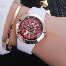 7 Colors New Style Quality Women Watches Luxury Rotation Wristwatch Lady Crystal Jelly Dress Watch Female Rubber Band Watch