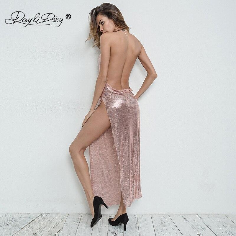 DAVYDAISY femmes Sexy longue robe en métal chaîne Bling Off épaule érotique femme porno Clubwear Sexy Lingerie Sexy Costumes DR006