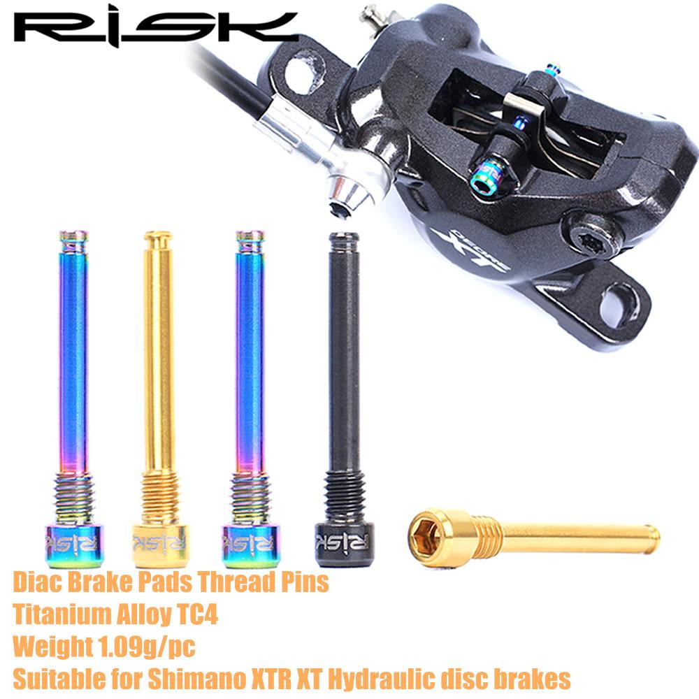 2PCS M4 Titanium Alloy Bicycle Disc Brake Caliper Bolts MTB Screws Threaded Pins