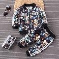 Мальчики одежда наборы мода печати цветочные 2 шт. новорожденных детская одежда хлопка с длинным рукавом детская одежда спортивный костюм девушки костюмы