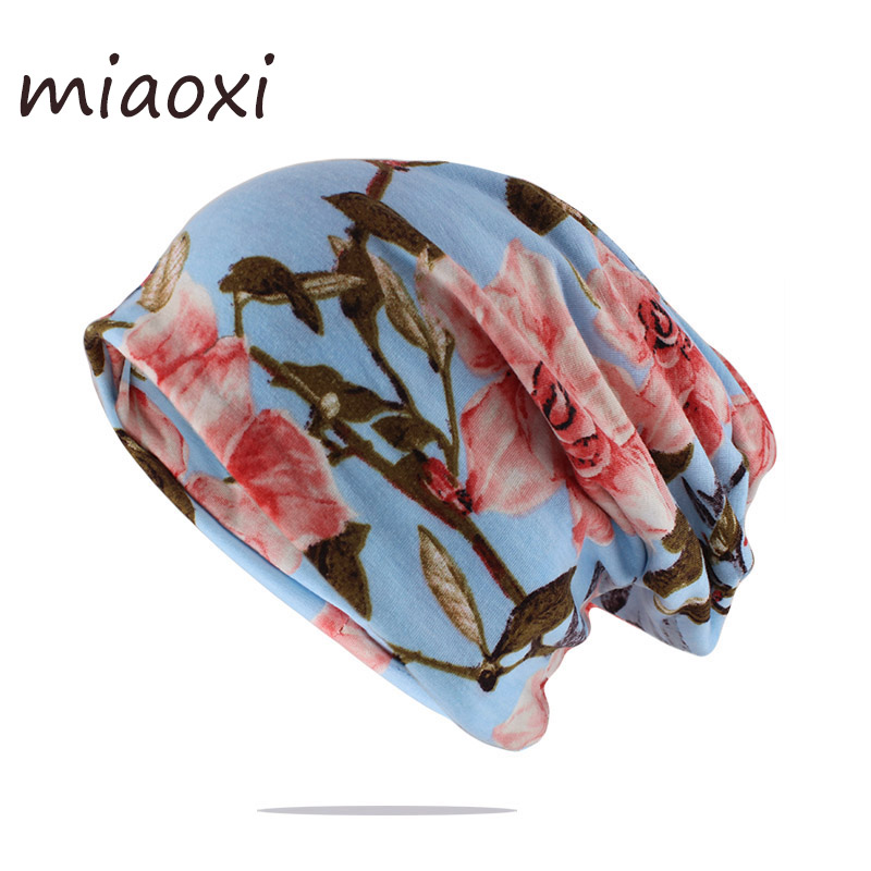 Fashion Women Cotton Hat Spring Autumn Warm Beanies Skullies Double Used Brand Hats Scarf Beauty Colorful Bone Floral Gorras