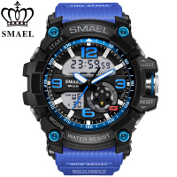 SMAEL Brand Men Sports Watch Dual Time Zone Analog LED Digital Quartz Watches Fashion Student Multifunction
