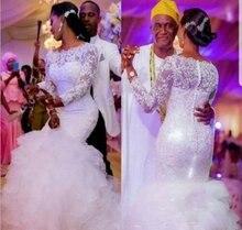 Кружевное свадебное платье Русалка для вечеринки с длинным рукавом