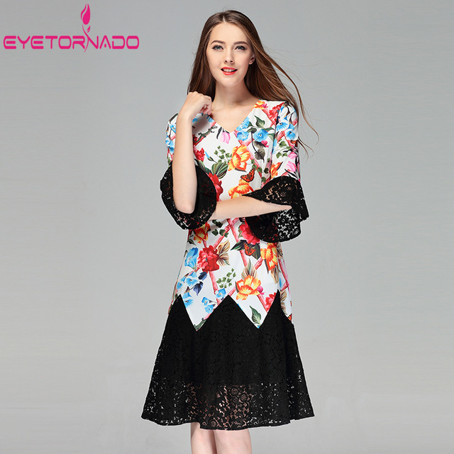 Women Floral Animal Print Casual Dress Summer Lace Patchwork Flare Sleeve Long Office Dresses V Neck Slim Beach Boho Dress