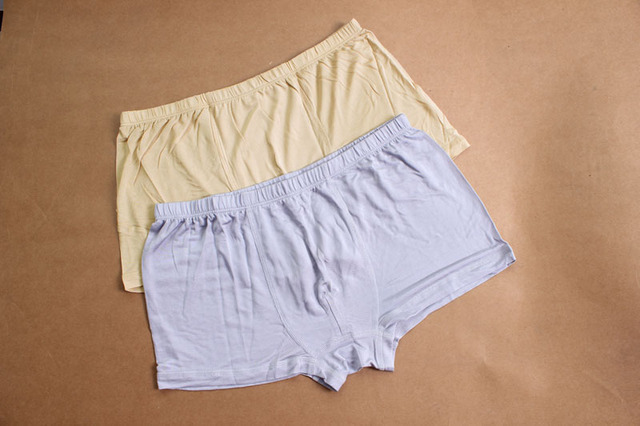 Men's silk panties natural mulberry silk silk breathable knitted plus size mid waist trunk