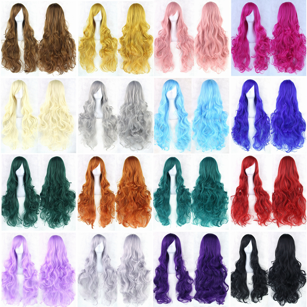 Soowee 20 Farben Wellenförmige Lange Perücke Haarteil Hochtemperatur Faser Synthetische Haar Rosa Schwarze Frauen-partei Haar Cosplay Perücken