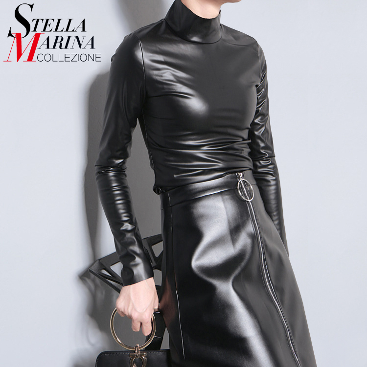 New 2016 European Women Autumn Winter Faux Leather PU Tee Top Black Solid Long Sleeve Turtleneck