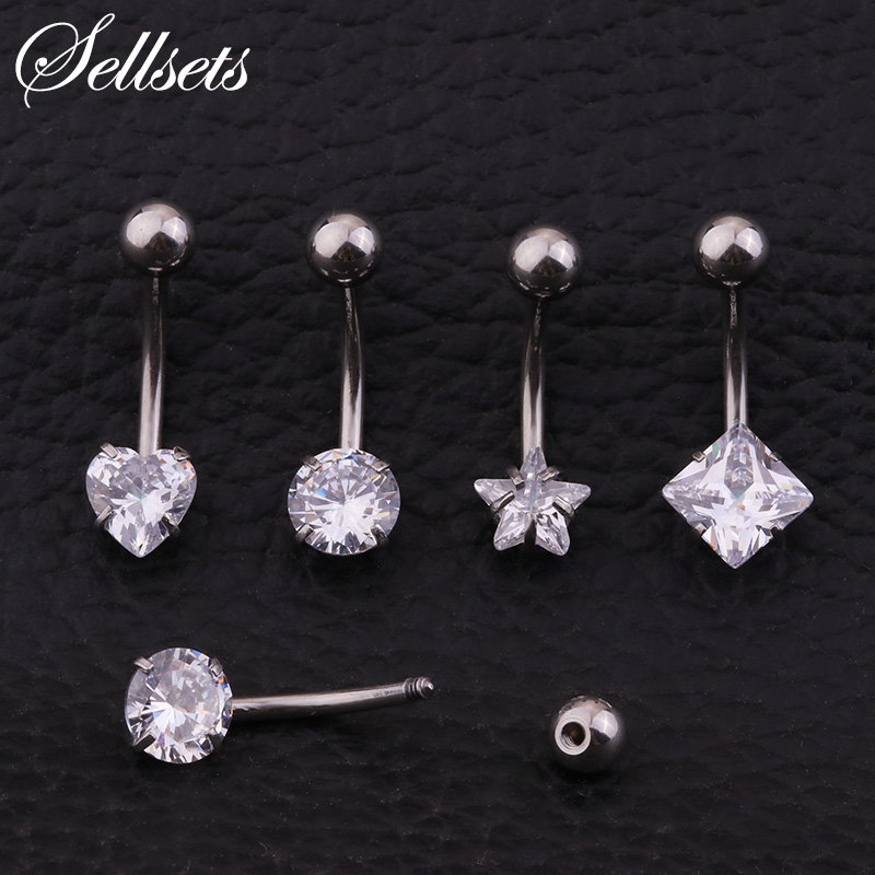Sellsets Belly Ring Navel Piercing Jewelry Surgical steel Prong Set Heart Star Square Round CZ Belly Button Rings Navel Stud