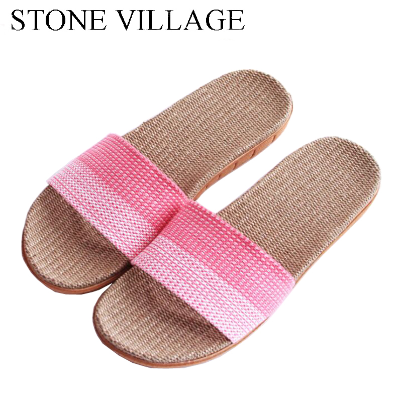 STONE VILLAGE Linen Slippers Wooden Floor Mute Indoor Shoes Non-Slip Thick Bottom Summer Home Slippers Men Women Slippers roxy lanai white