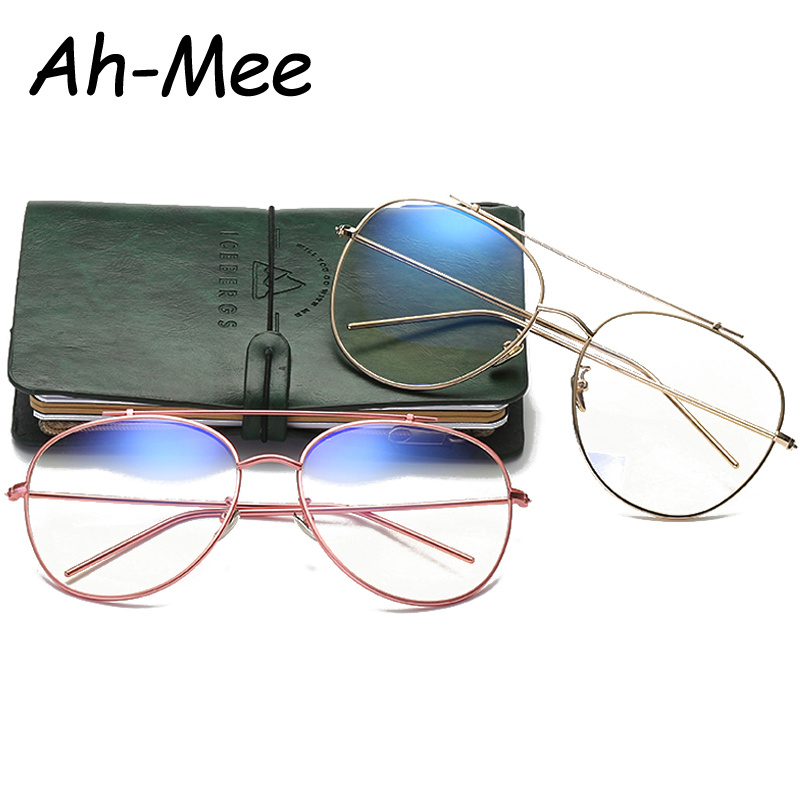 Pilot Eyeglasses Women Men Oversized Frame Anti blue ray Lens Vintage Computer Goggles Myopia Optic Eyeglasses Frames Eyewear