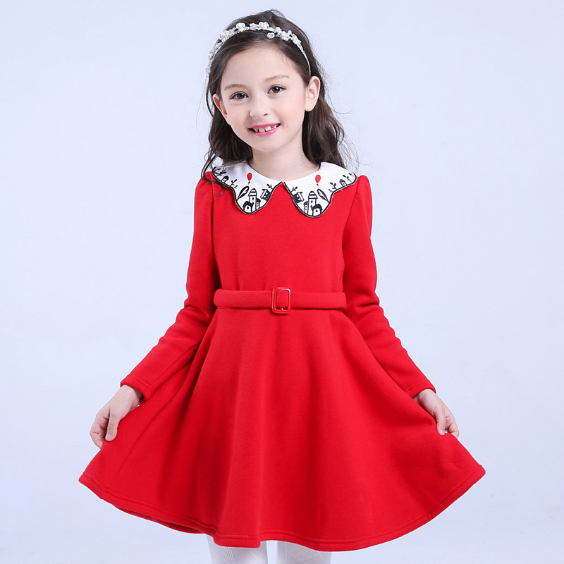 Winter Girls Princess Dress Hollow Long-sleeved Christmas New Year Dresses Girls Clothes Christmas Dresses for Children Y887 qiu dong children dress long sleeved cinderella princess dress love sally dresses of the girls