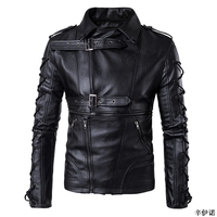 Hot M 5XL Men's autumn winter brand rock leather jacket, motorcycle jacket, men leather clothes Slim mens leather jacket Coats