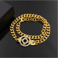 High quality CZ Diamond Jewelry Rome Digital Disk Hollow Double Circle Around The Coarse Chain Bracelet Color Free Shipping