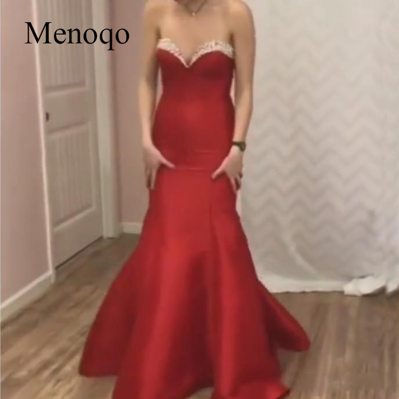 2019 Mermaid Sweetheart Long   Prom     Dress   with Beaded Zipper Evening   Dress   for Women Formal Sweep Train Sleeveless   Prom   Gowns