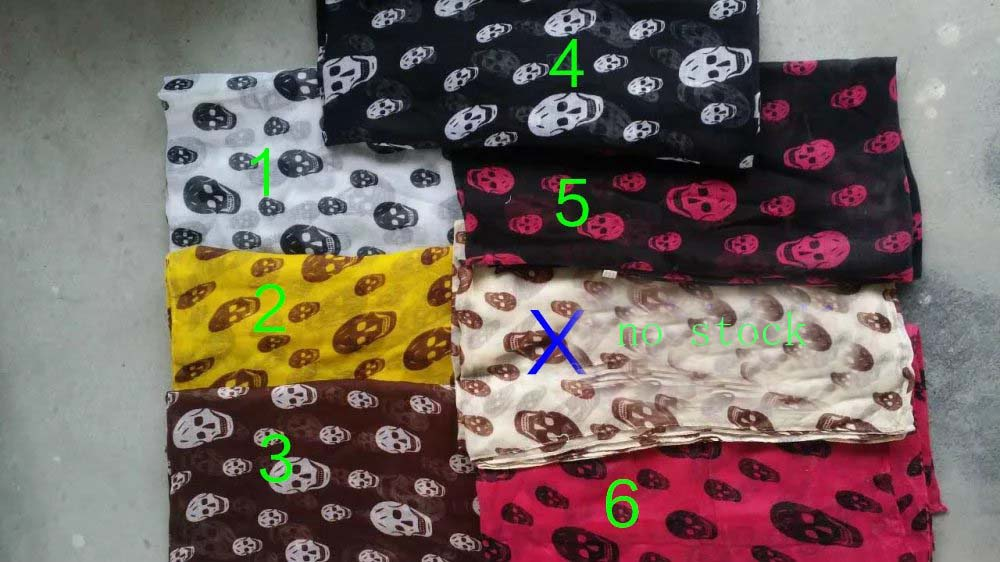 2016 New Fashion Small Crossbones Print Scarf Women Skull Wrap Shawls Lady ScarvesHijab 8 Color Wholesale10pcs/LOT Free Shipping