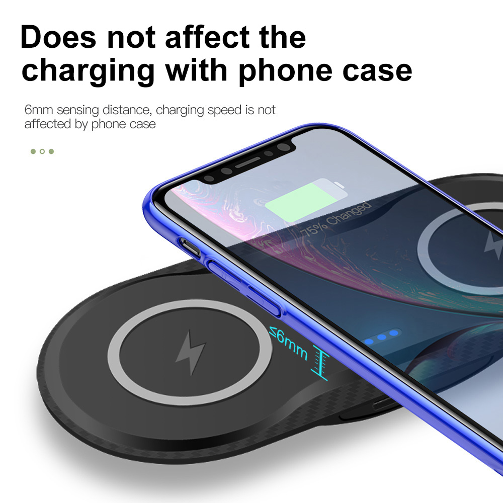 FDGAO 5W QI wireless charger pad 2in1 for iPhone X XR XS Samsung Galaxy S9 Plus Note 8 9 Dual QI Induction Charging Device in Mobile Phone Chargers from Cellphones Telecommunications
