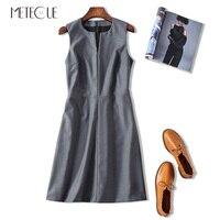 Office Lady Sleeveless V Neck High Waist A Line Women Midi Sexy Dress Elegant 3D Clipping