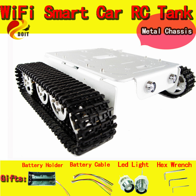Official DOIT RC Metal robot Tank Car Chassis Caterpillar with High Torque Motor With Hall Sensor Speed Measure Remote Control official doit speed sensors tank chassis creeper truck tracked smart car high torque motors and hall sensor robot part for diy