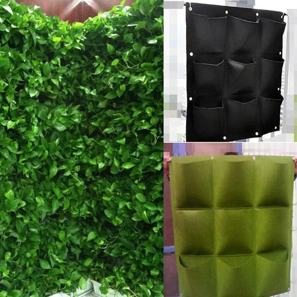 1Pcs Indoor Outdoor 9 Pocket Wall Hanging Planter Vertical Felt Garden  Plant Grow Container Bags Green