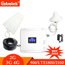 Lintratek трехдиапазонный усилители домашние 900 1800 2100 GSM DCS WCDMA 2 г 3g 4 усилитель сигнала 900/1800/2100 мобильный телефон сотовый ретранслятор