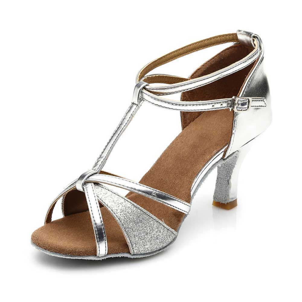 New Brand Tango Latin Dance Shoes For Women Girls Ballroom Dancing Shoes 7CM Soft Heel  Sequin Sexy High Heel Dance Shoes Jazz