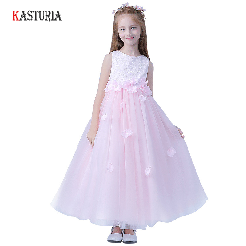 New summer kids dresses for girls long princess dress pink lace flowers children teenager dance unicorn party wedding dresses