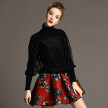 Free shipping 2015 new spring printed skirt suit Temperament of bud silk turtleneck sweater + printing skirt suits